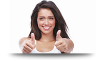 Happy young girl showing thumbs up sign isolated on white backgr